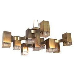 Bronze Cubic Chanderlier by Sciolari