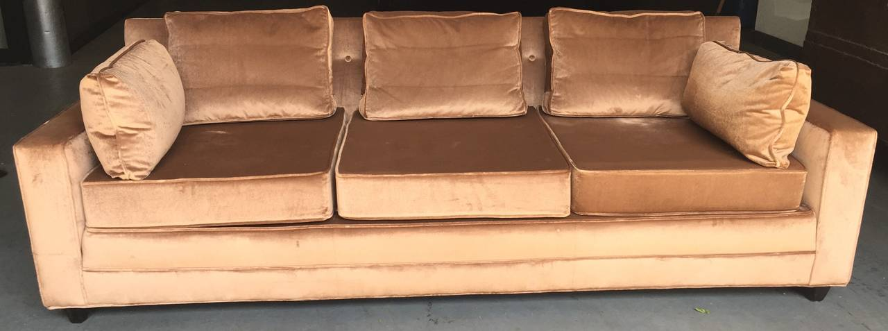 Chic gold velvet upholstered sofa with down back and side cushions and sprung seat. Beautifully carved mahogany feet. This is an extremely well built and comfortable sofa, with typical Dunbar spare-no-expense construction.