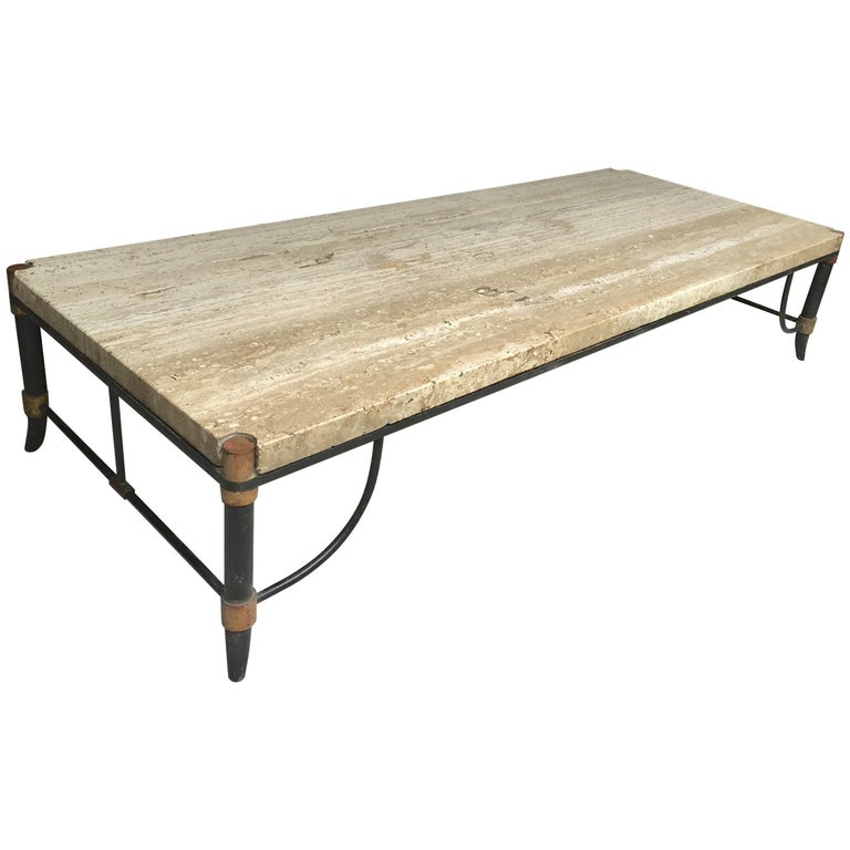 Italian Travertine, Bronze and Enamel Coffee Table For Sale