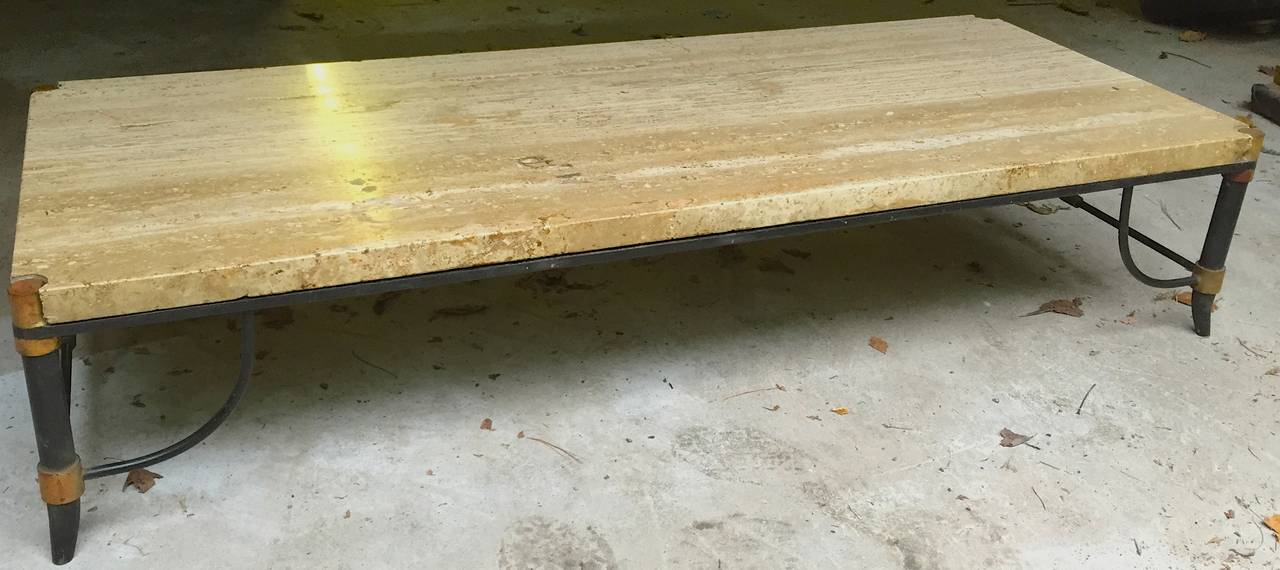 Italian Travertine, Bronze and Enamel Coffee Table In Good Condition For Sale In Hudson, NY