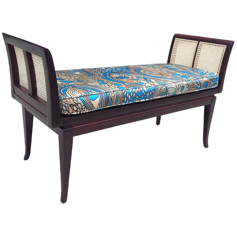 Mahogany and Cane Bench with Pucci-Style Silk Cushion 1