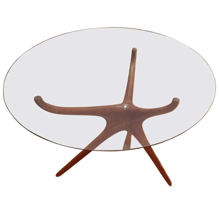 Vladimir Kagan Carved Walnut Trisymmetric Occasional Table For Sale