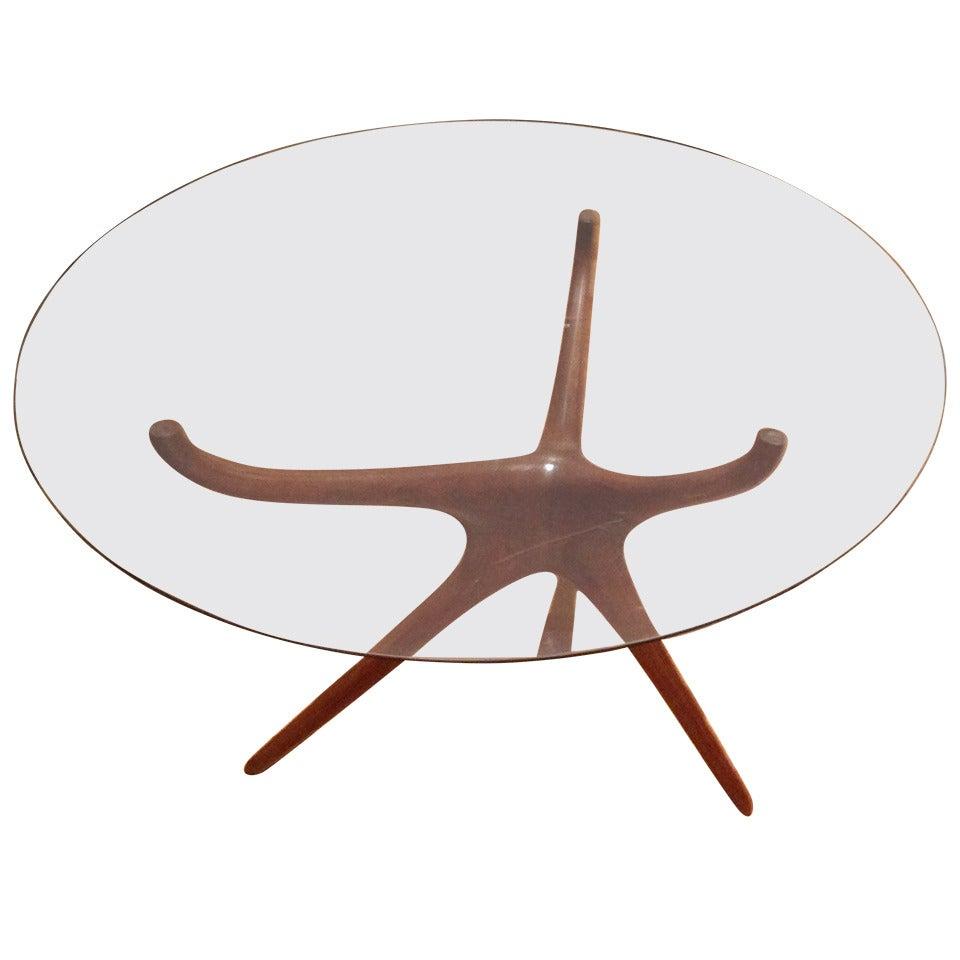 Vladimir Kagan Carved Walnut Trisymmetric Occasional Table