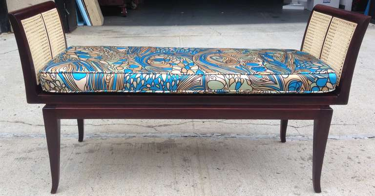 Mahogany and Cane Bench with Pucci-Style Silk Cushion 3