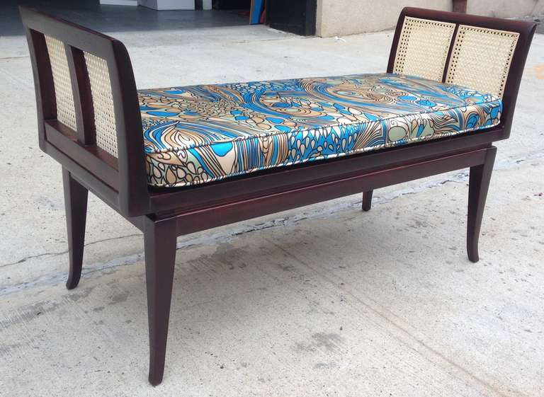 Mahogany and Cane Bench with Pucci-Style Silk Cushion 2