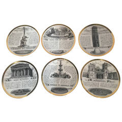Set of Six Fornasetti Dinner Plates