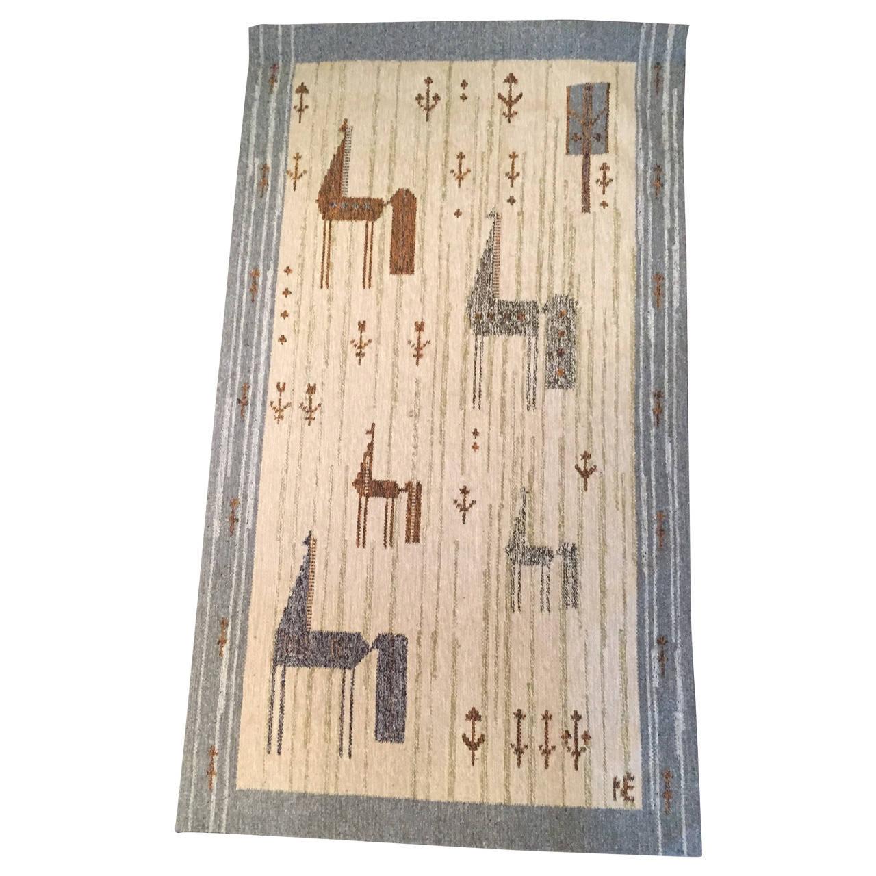Scandinavian Flat-Weave Rug or Tapestry