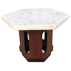 Pair of Harvey Probber Style Terrazzo and Walnut Side Tables