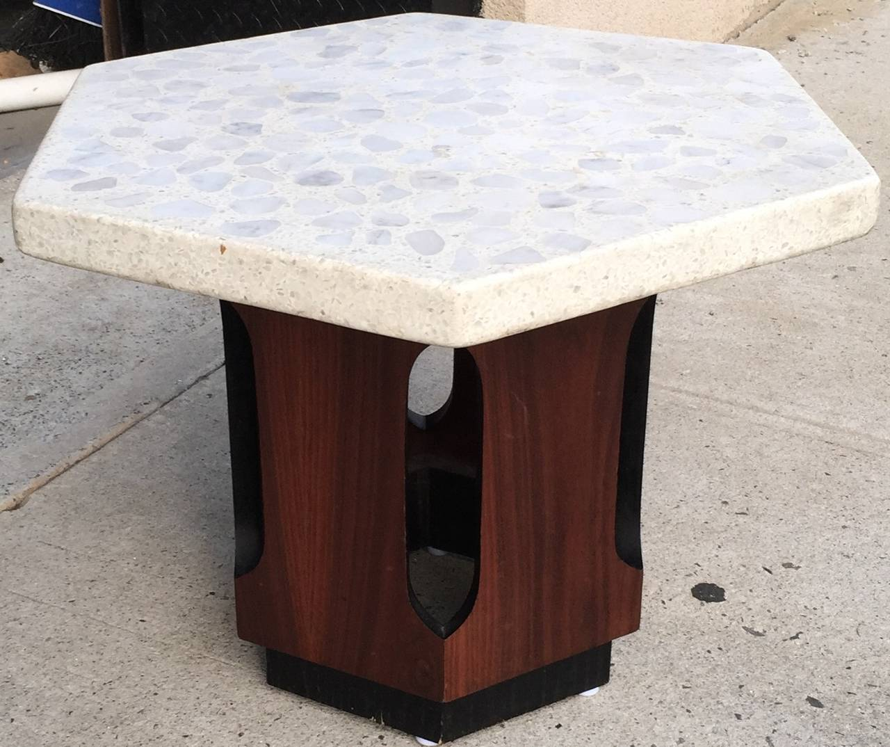 Classic Probber six-sided white terrazzo top table with Moorish arched walnut base.