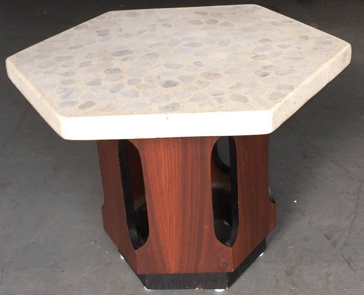 American Pair of Harvey Probber Terrazzo and Walnut Side Tables For Sale