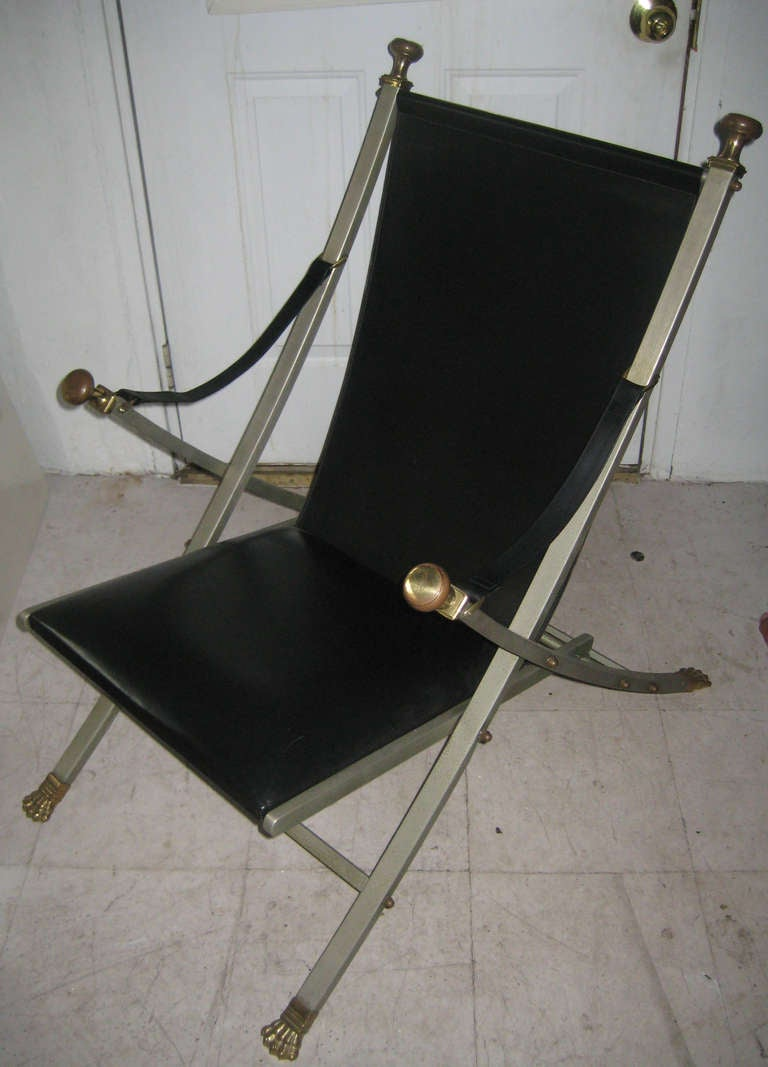 Single Maison Jansen Steel, Bronze and Leather Campaign Chair 2
