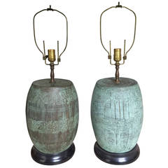 Pair of Bronze Verdigris Table Lamps