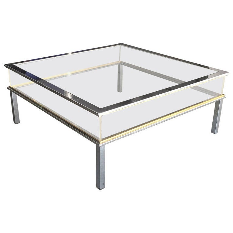 Chrome and brass vitrine coffee table by romeo rega at 1stdibs for Table vitrine