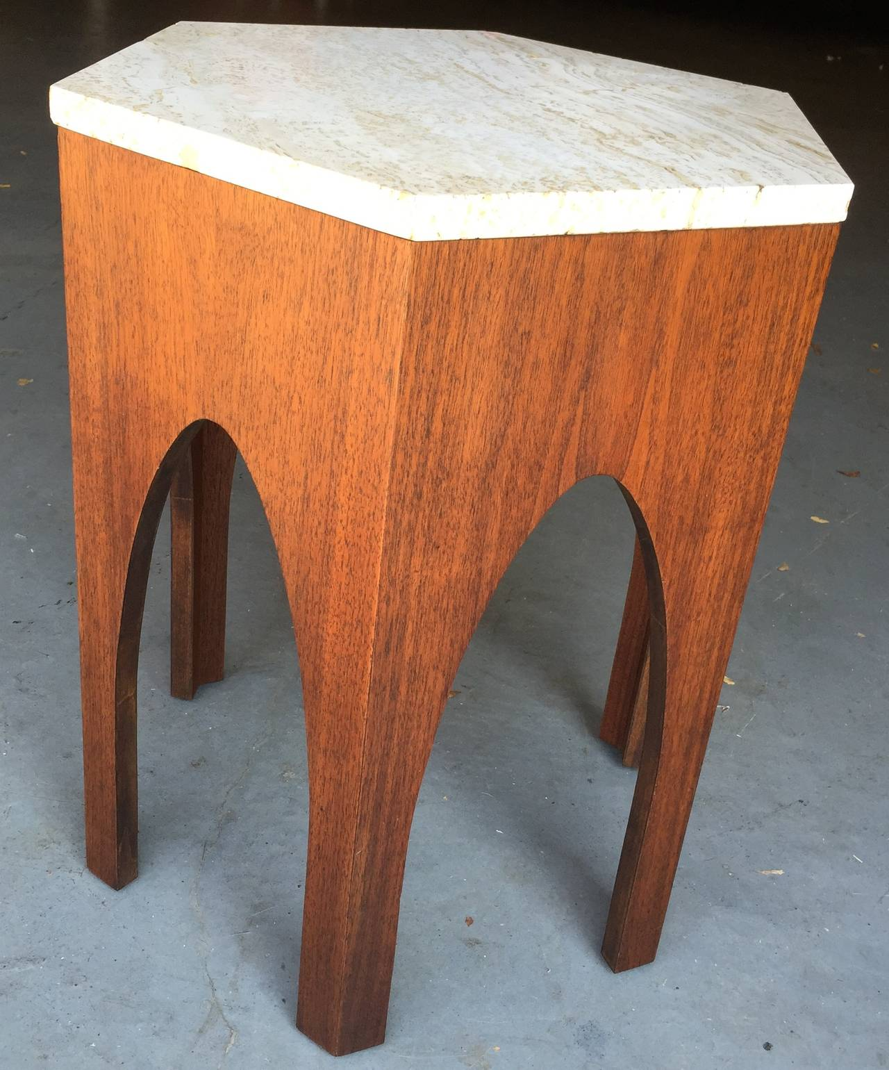 Great Moroccan-esque arched marble table with hexagonal marble top.