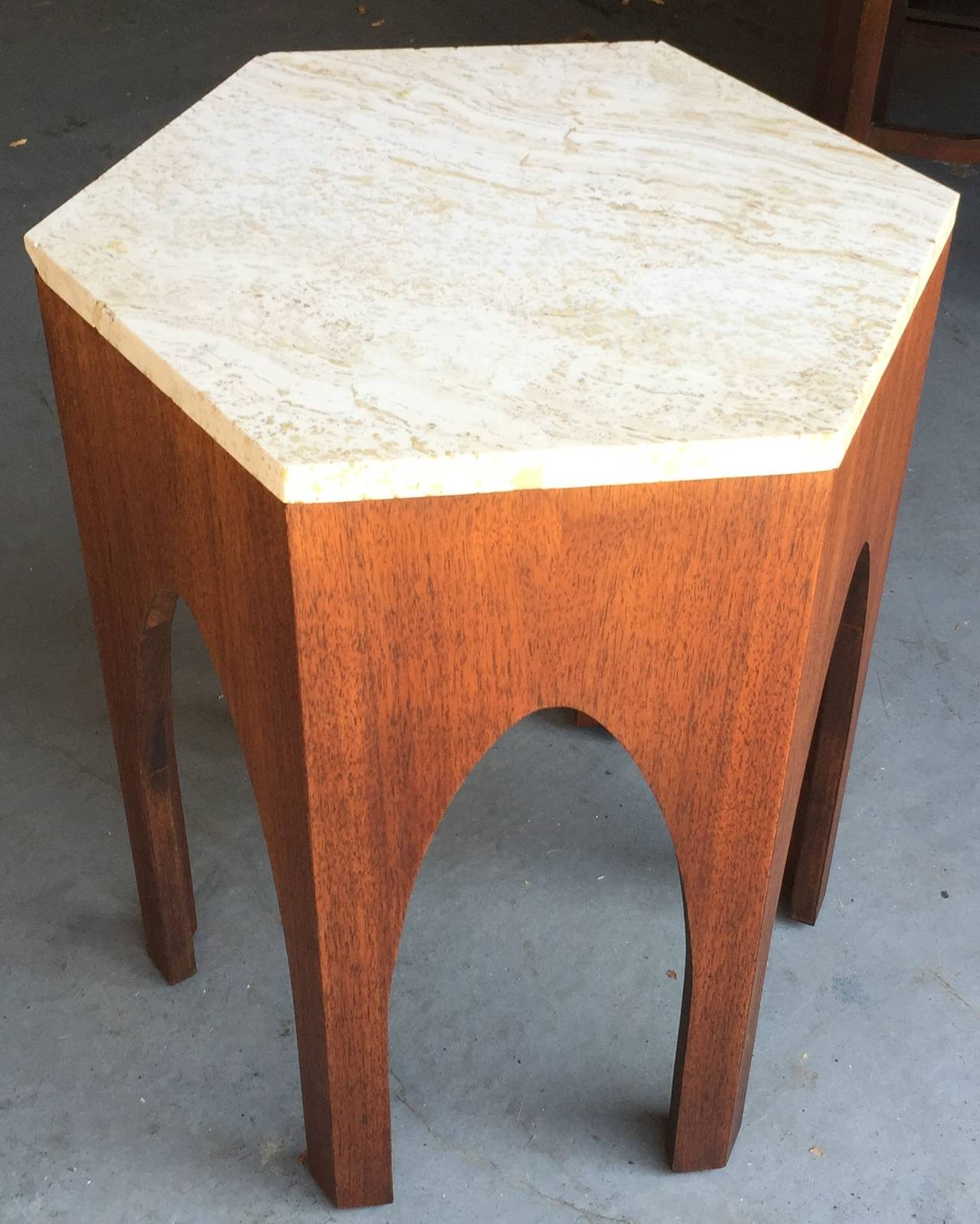 American Harvey Probber Walnut and Marble Side Table For Sale