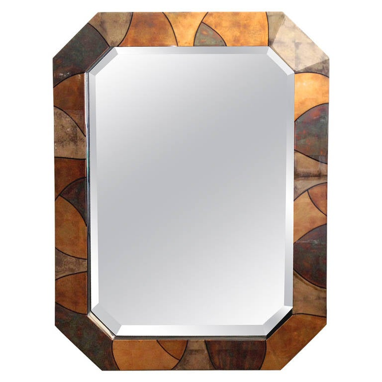 Rare Karl Springer Patchwork Vellum Mirror For Sale