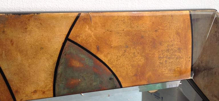 Rare Karl Springer Patchwork Vellum Mirror In Excellent Condition For Sale In Hudson, NY