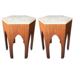 Pair of Harvey Probber Walnut and Marble Side Tables