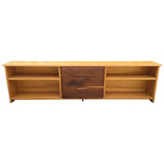 White Oak and Black Walnut Low Shelf by Robert Whitley