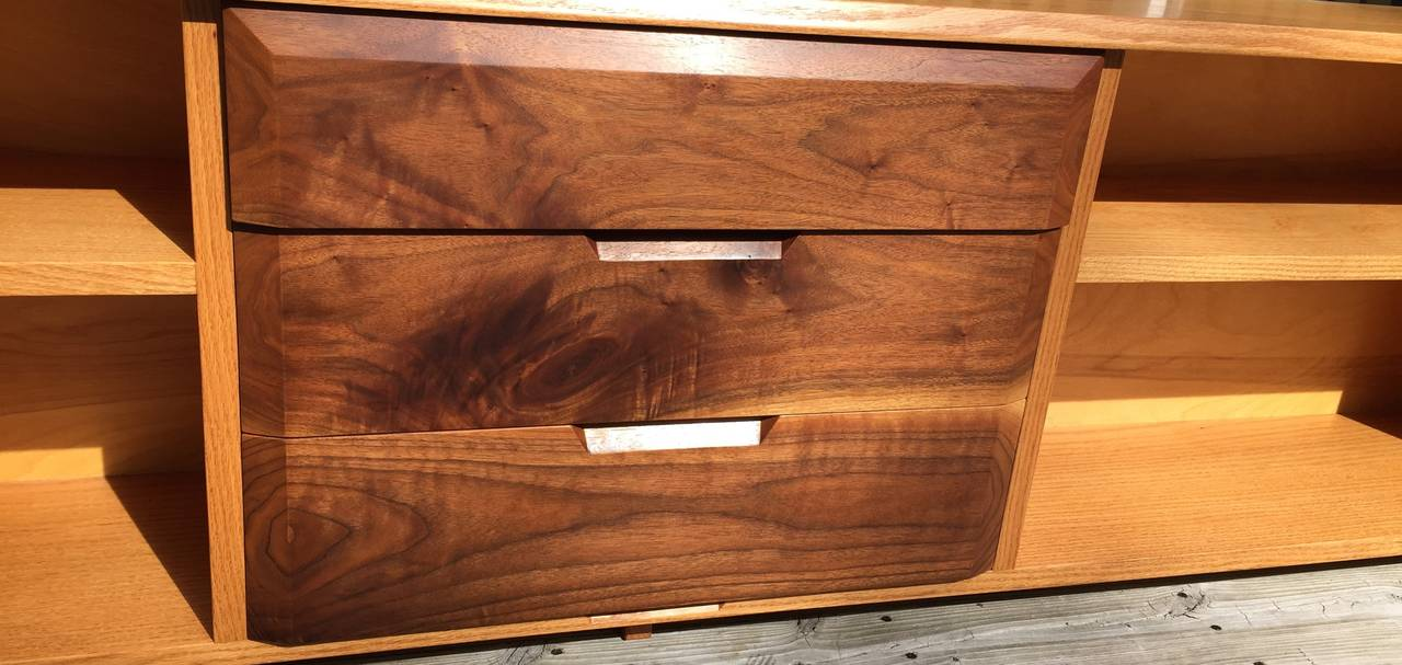 American White Oak and Black Walnut Low Shelf by Robert Whitley For Sale