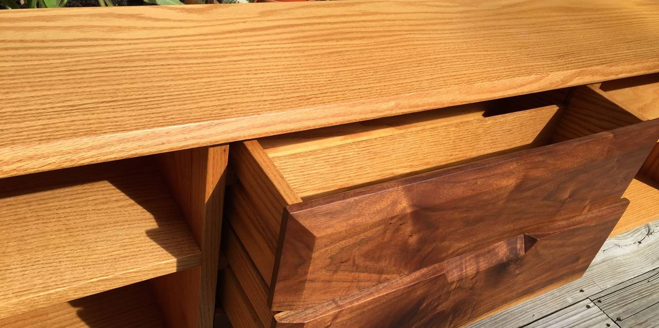 Late 20th Century White Oak and Black Walnut Low Shelf by Robert Whitley For Sale