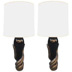 Pair of Bronze and Ceramic Lamps by Enzo Missoni
