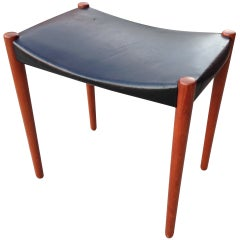 Teak and Leather Stool by Bender-Madsen and Larsen