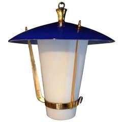 Venini Brass and Cased Glass Lantern