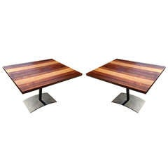 Pair of Milo Baughman Mixed Wood and Iron Side Tables