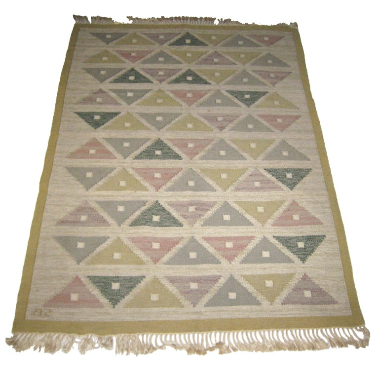 Handwoven Flat-Weave Carpet by Sigvard Bernadotte For Sale