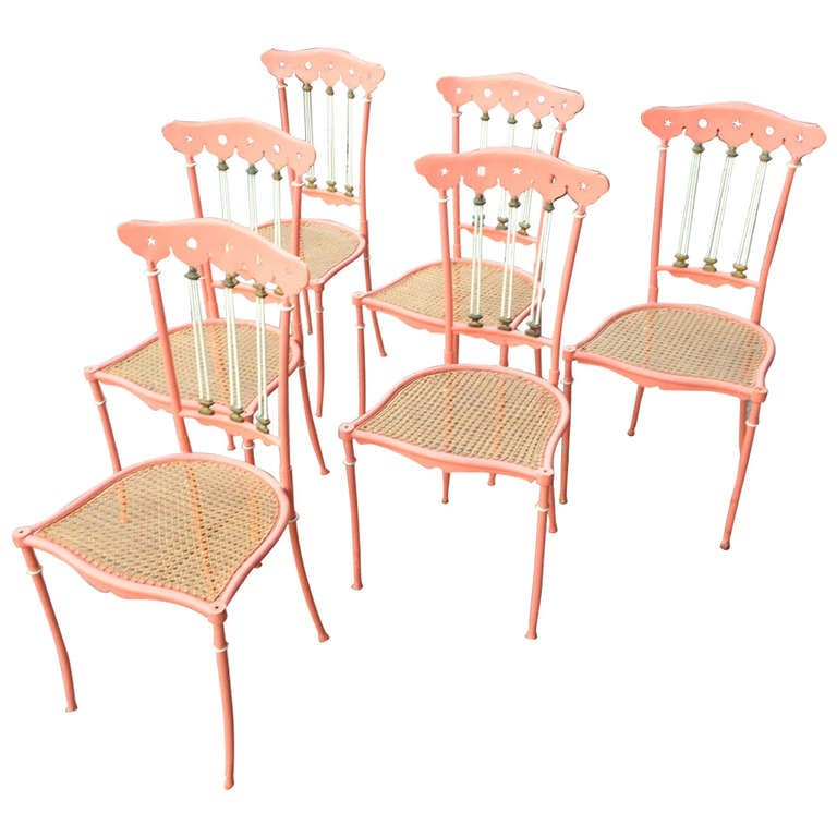 Set of Six Painted Metal and Cane Chiavari 1