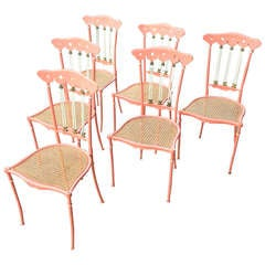 Set of Six Painted Metal and Cane Chiavari
