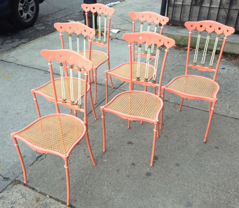 Set of Six Painted Metal and Cane Chiavari 2