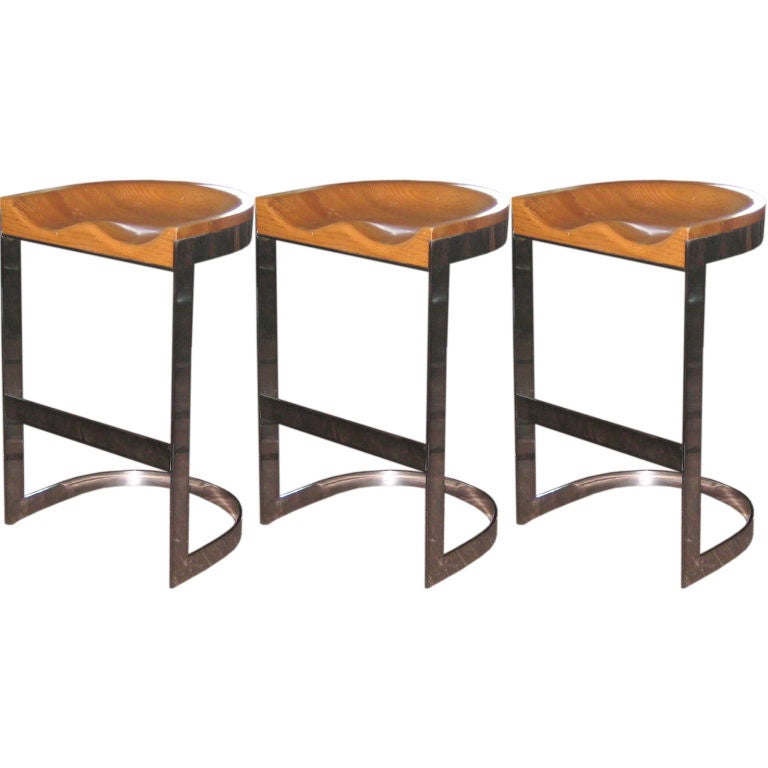 Set of 3 Milo Baughman Chrome and White Oak Counter Stools  : 8002127834925112 from www.1stdibs.com size 768 x 768 jpeg 38kB