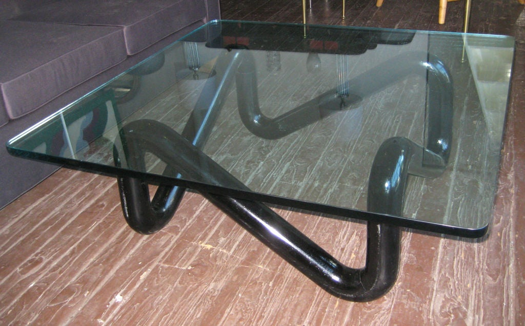 Sculptural coffee table base in black lacquered solid oak with 1