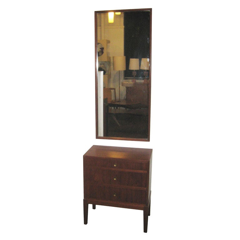Chest and Mirror by Peter Hvidt for Thorald Madsen For Sale