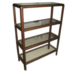 Dunbar Mahogany and Glass Four Shelf Etagere