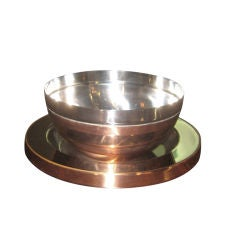 Gabriella Crespi Steel and Copper Center Bowl and Charger