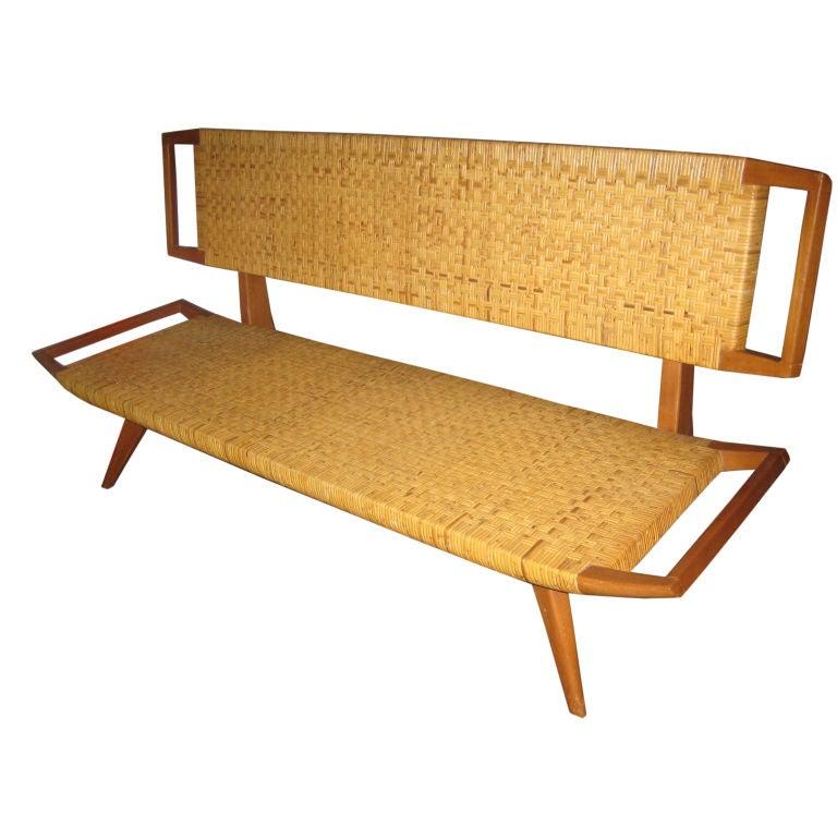 Paul Laszlo Walnut And Cane Sofa Bench At 1stdibs