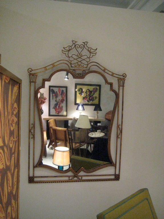 Gilt French Gilded Iron Mirror For Sale