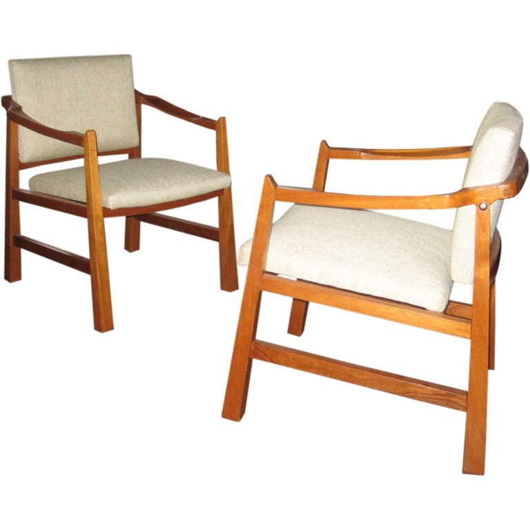 Pair of Edmond Spence Mahogany Mayan Chairs For Sale