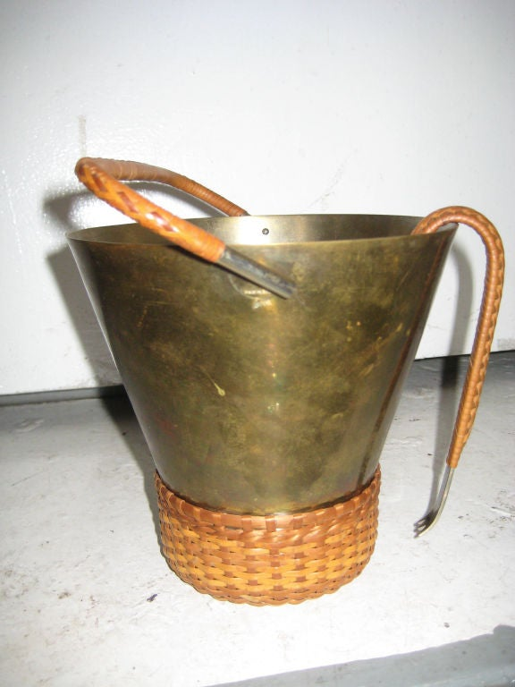 Carl Aubock Brass and Cane Ice Bucket and Tongs 2