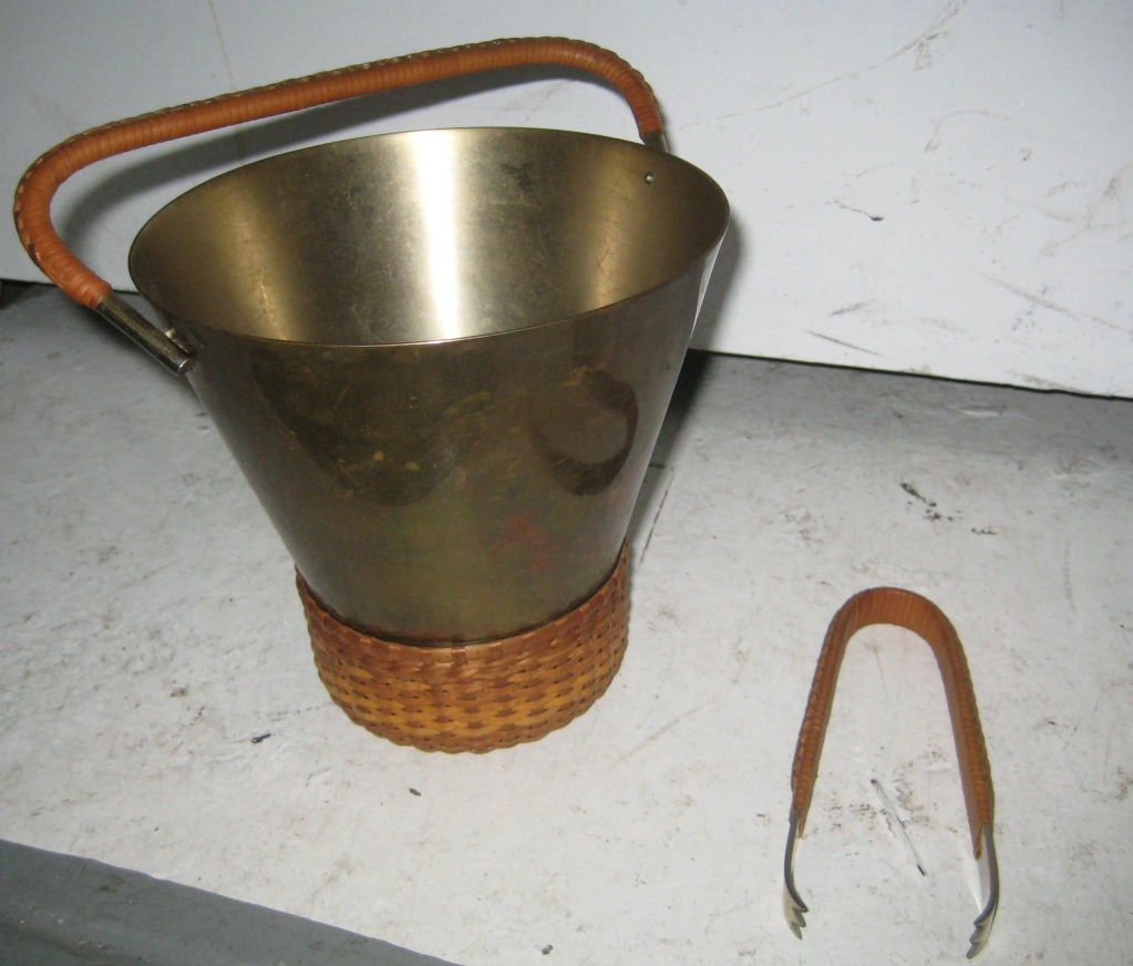 Carl Aubock Brass and Cane Ice Bucket and Tongs 3