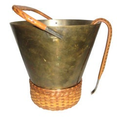 Carl Aubock Brass and Cane Ice Bucket and Tongs