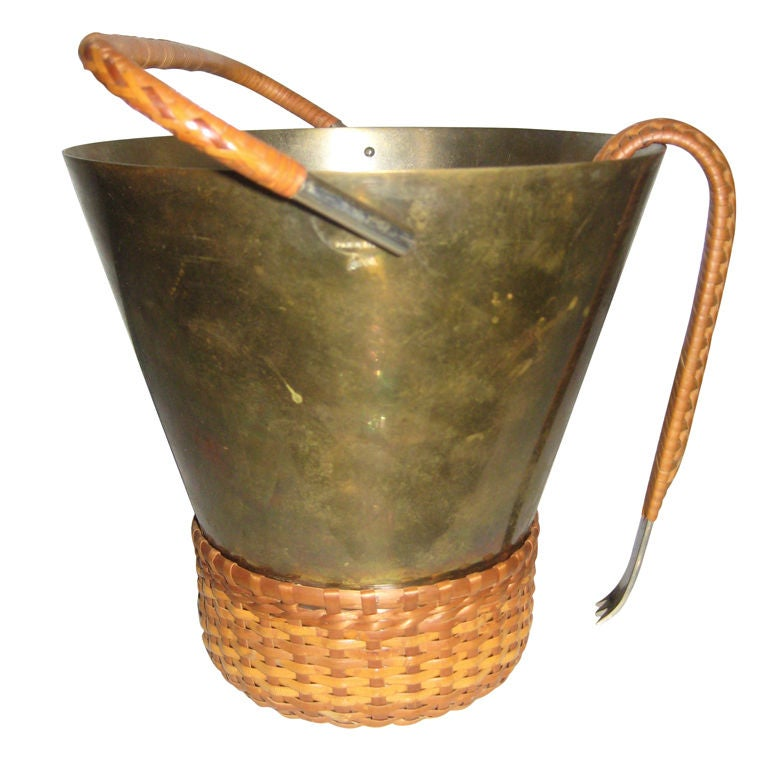 Carl Aubock Brass and Cane Ice Bucket and Tongs 1