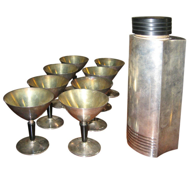 Folke Arstrom Silverplate and Bakelite Cocktail Set