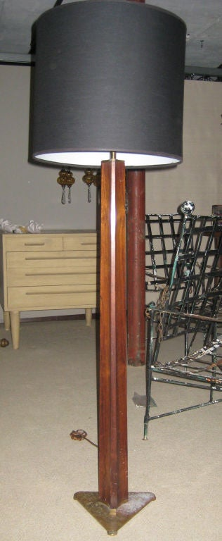 Rare Edward Wormley Rosewood and Brass Floor Lamp for Hansen 3