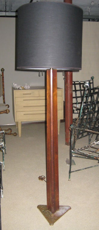 Rare Edward Wormley Rosewood and Brass Floor Lamp for Hansen 2
