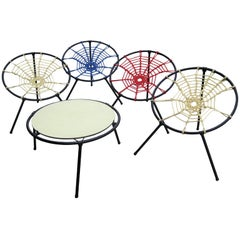 Rare Five-Piece Spider Patio Set by Hoffer