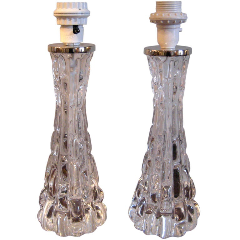 Pair of Crystal Orrefors Table Lamps by Carl Fagerlund For Sale